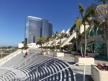 Amphitheater stairs and modern buildings at the convention center in San Diego