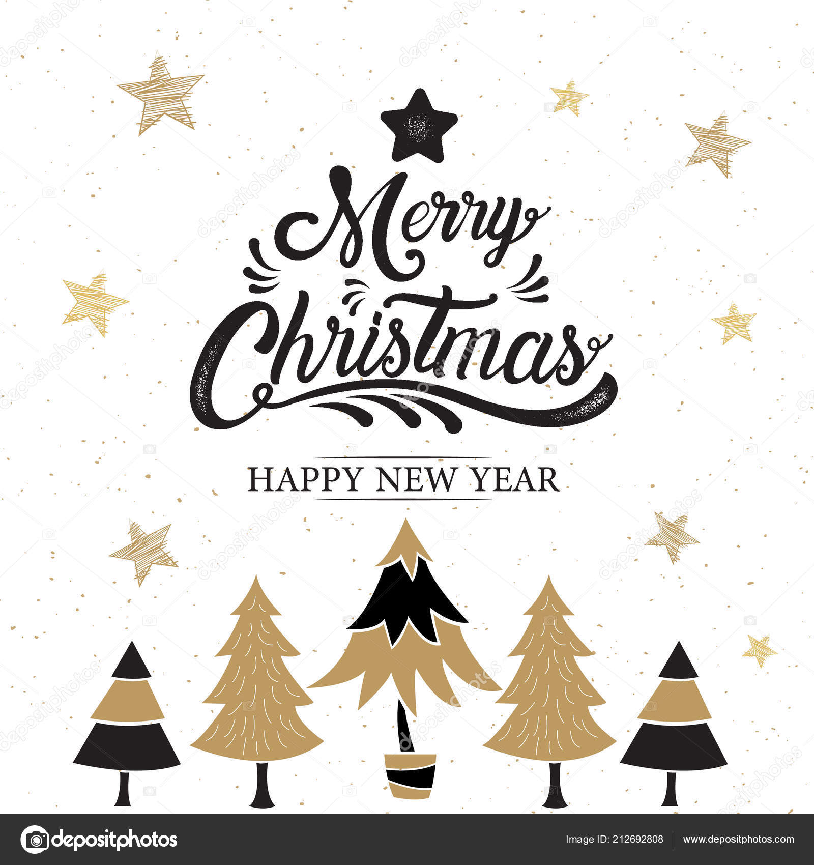 merry christmas happy new year logo symbol design gold vector stock vector