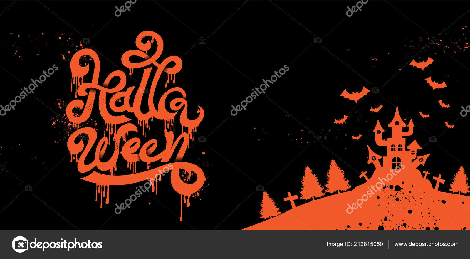 happy halloween party calligraphy logo scary spooky template vector