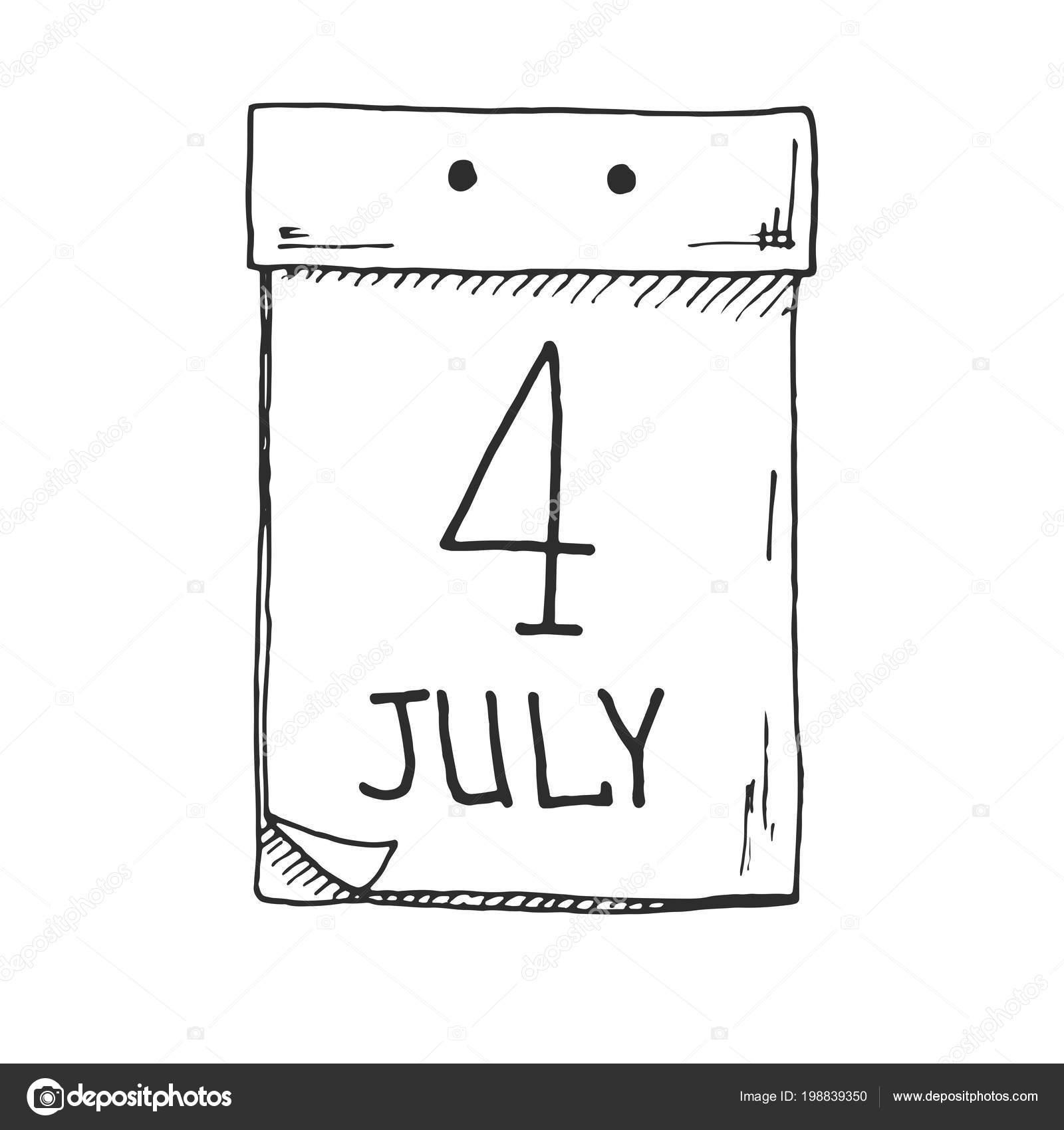 Calendario A Strappo.Schizzo Calendario Strappo Data Luglio Vector Vettoriali