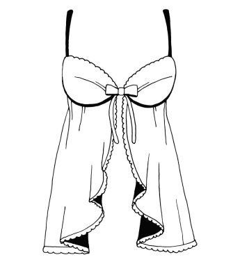 Sketch lingerie. Sexy nightgown. Vector illustration stock vector