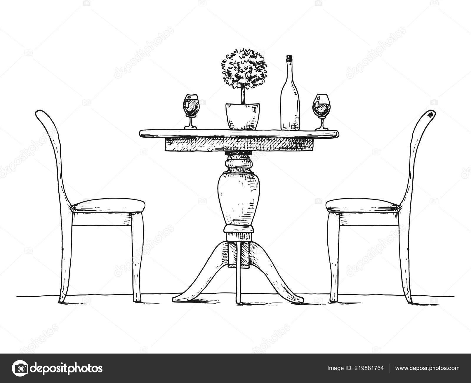 Partie Salle Manger Table Ronde Chaises Sur Vase Table Fleurs