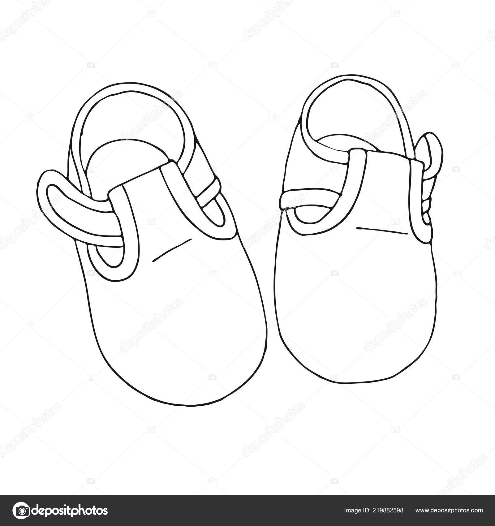 32be2eb635d Dibujo Zapatos Para Bebé Par Zapatos Aislado Sobre Fondo Blanco — Vector de  stock