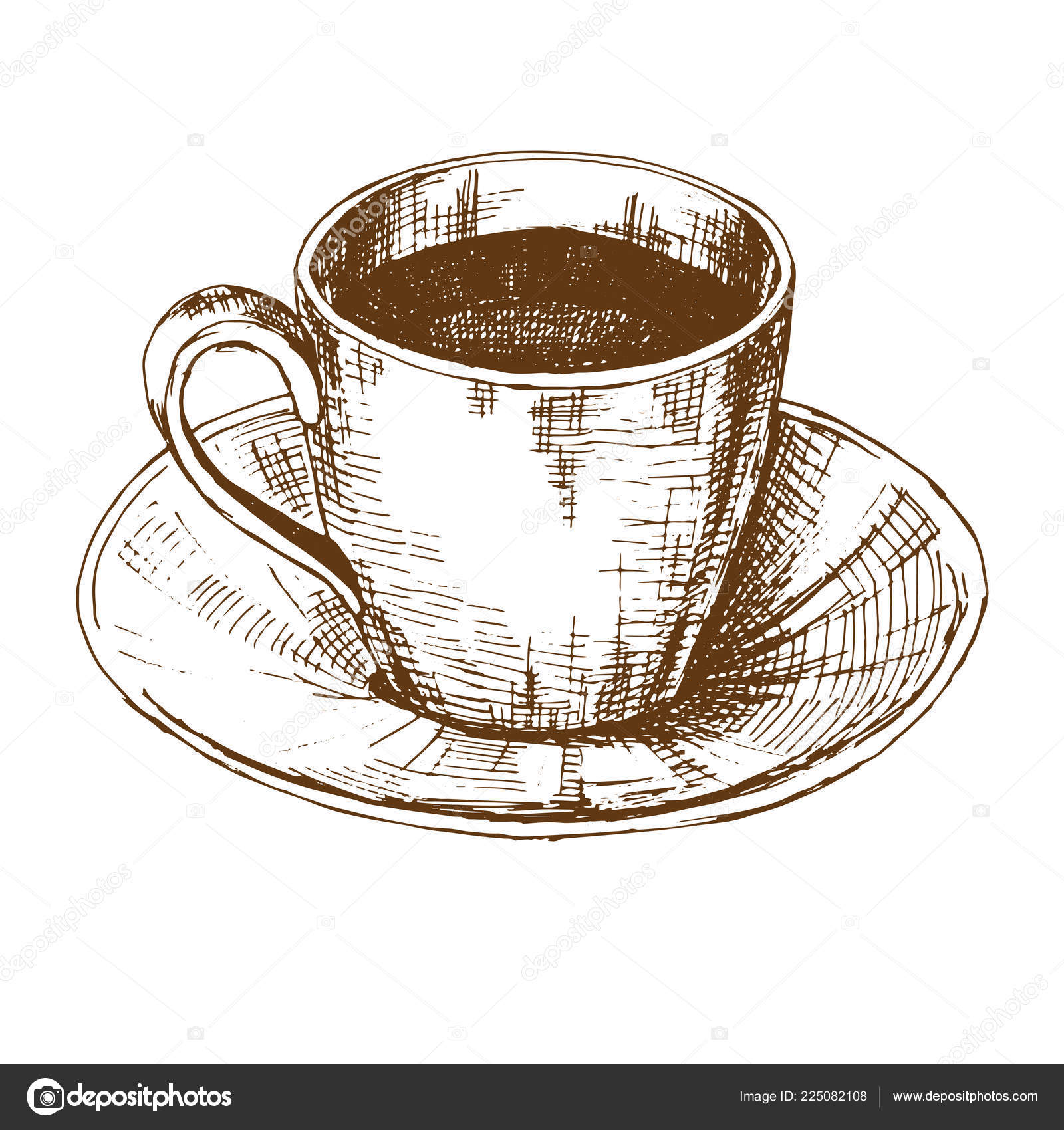 Sketch Cup Coffee Saucer Vector Illustration Sketch Style Stock Vector C Nadiia Kud Gmail Com 225082108