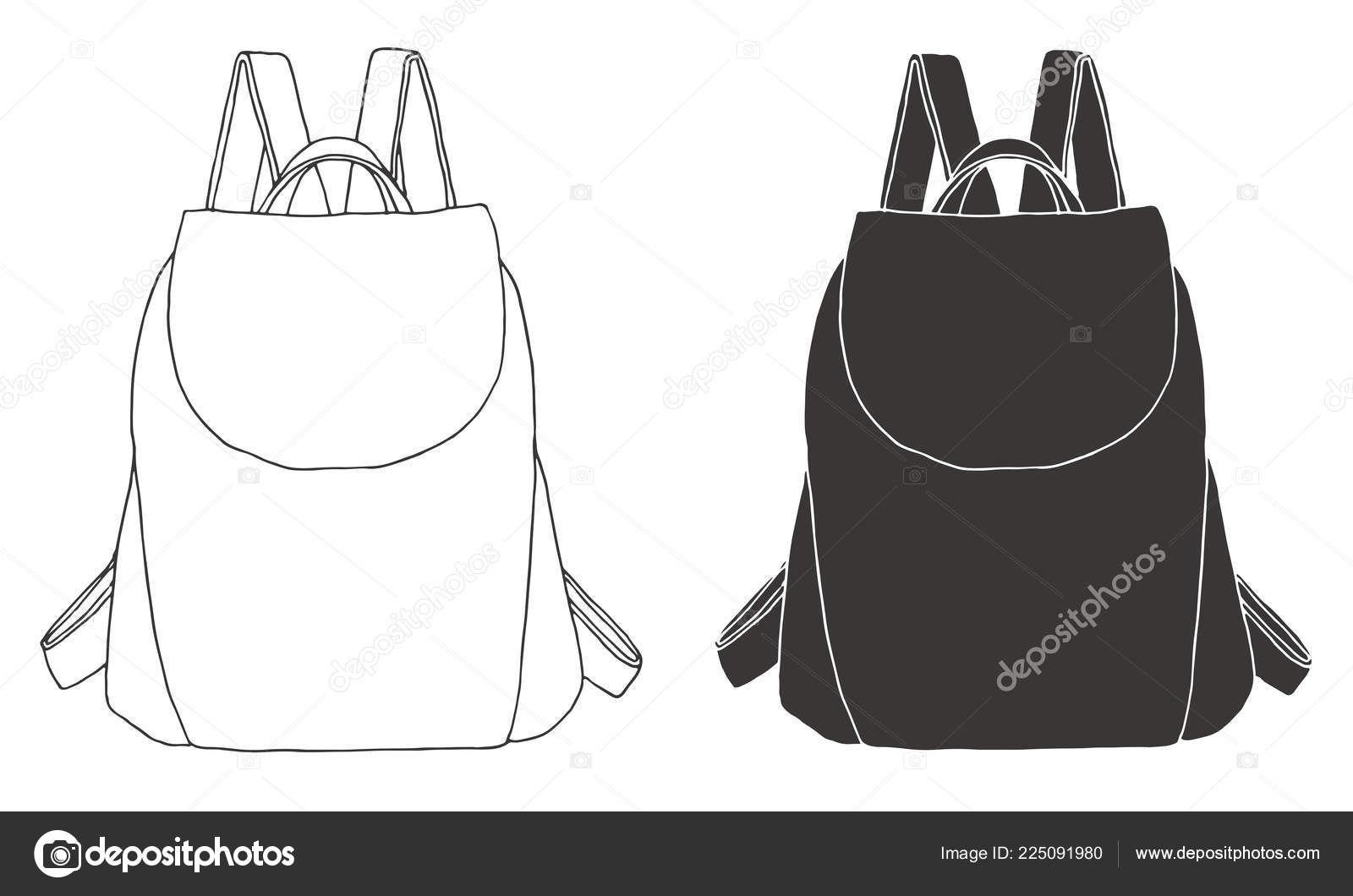 fcec71aad0f Sketch Rucksack Backpack Isolated White Background Vector Illustration  Sketch Style — Stock Vector