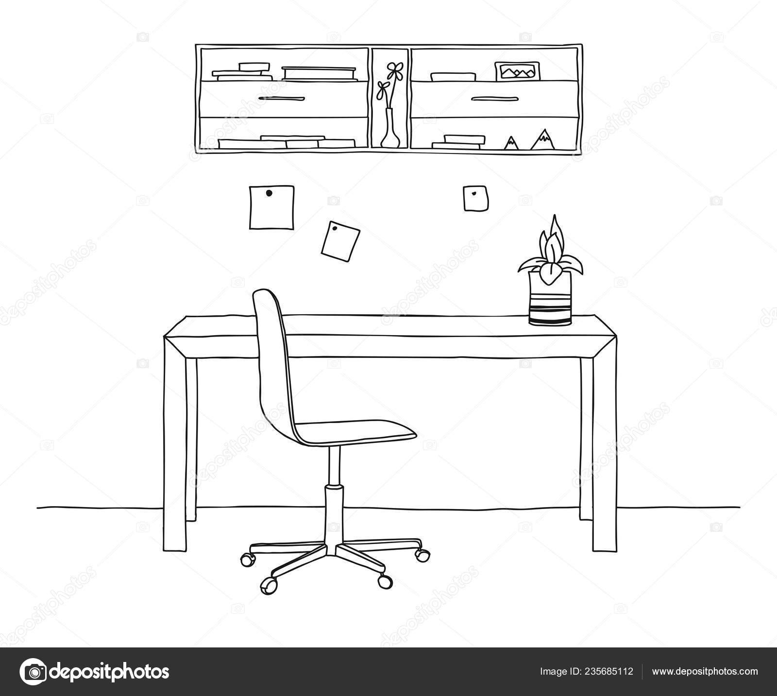 Varios Habitación Sobre Objetos Silla Oficina Mesa Boceto Escritorio hQdCtBsrx