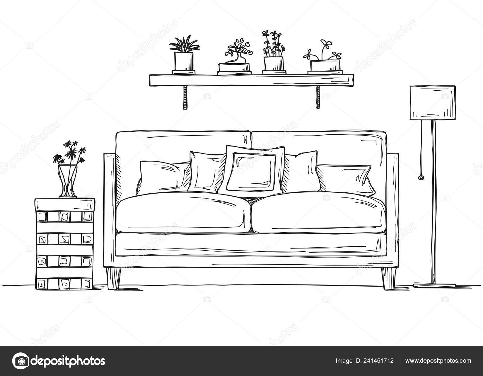 Miraculous Interior Sketch Style Sofa Bedside Table Floor Lamp Shelf Unemploymentrelief Wooden Chair Designs For Living Room Unemploymentrelieforg