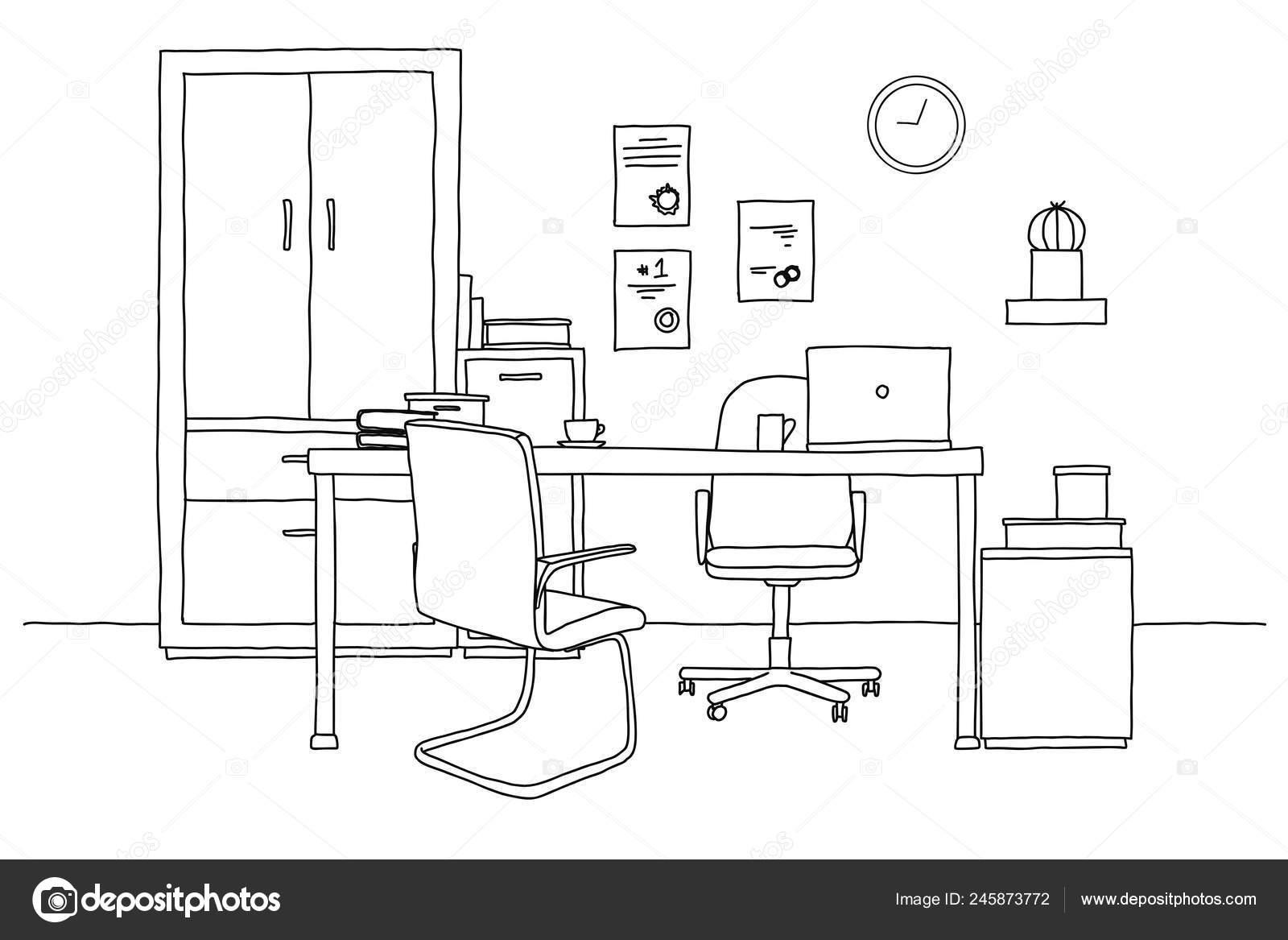 Varios Escritorio Boceto Sobre Habitación Silla Objetos Oficina Mesa 80vmnNw