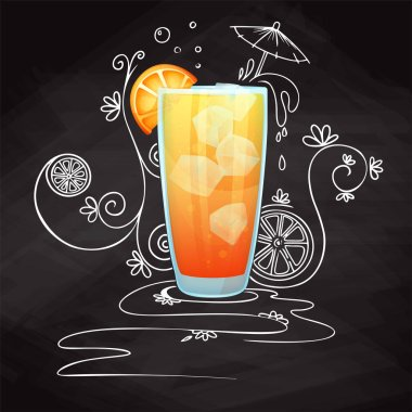 Realistic cocktail on chalk background with doodle, pattern. Vector