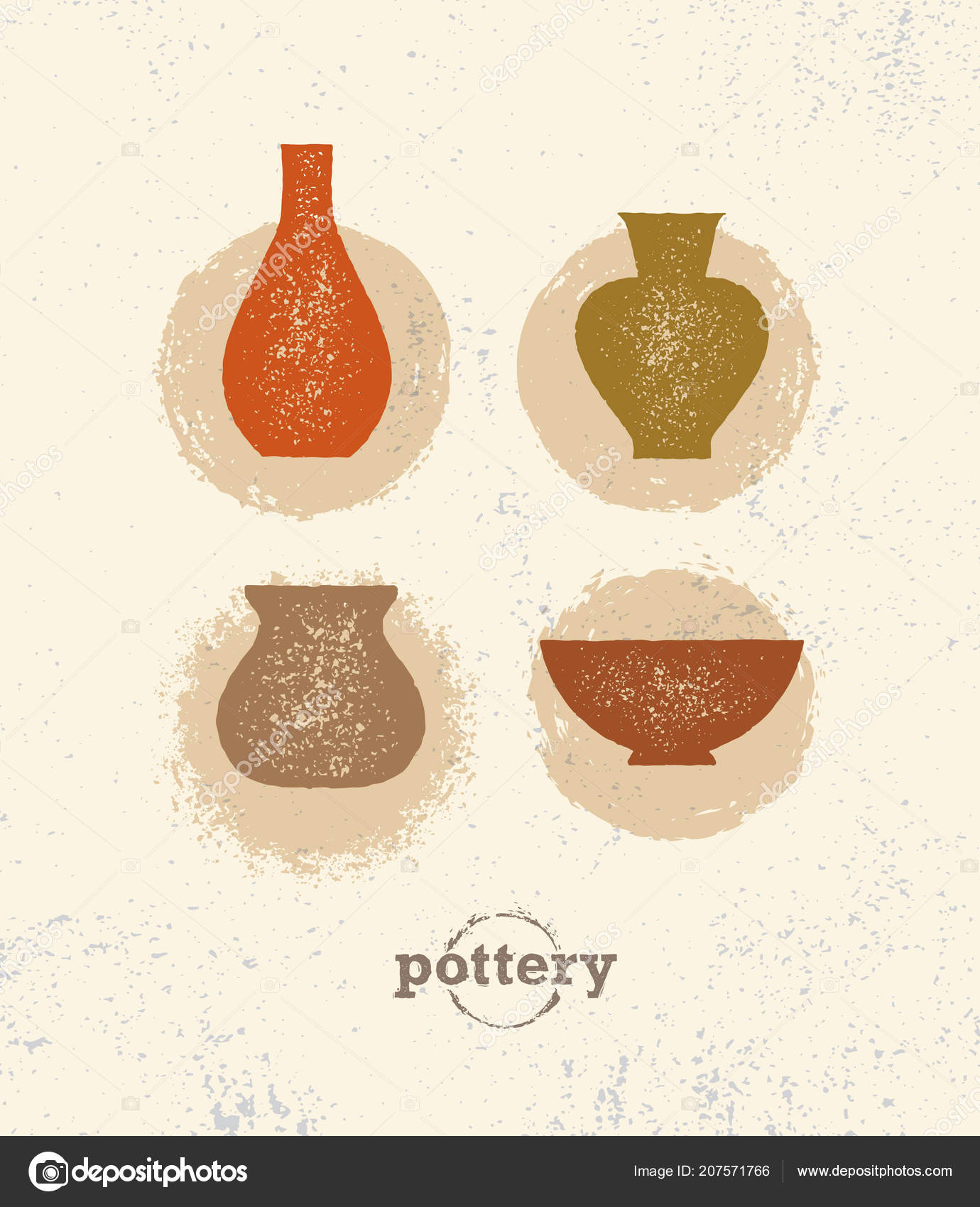 Set Hand Drawn Pots Grunge Beige Background U2014 Vetores De Stock