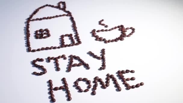 Gyönyörű rajz kávébab fehér háttér, egy ház egy csésze kávébab, közelkép, felső nézet