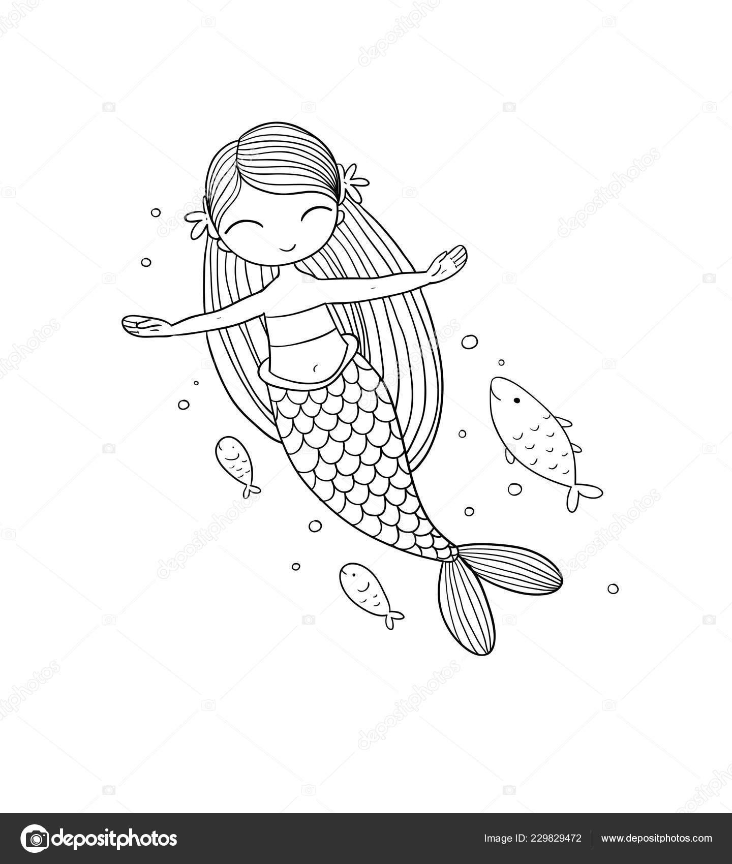 Cute Karikatur Kucuk Deniz Kizi Siren Deniz Tema Stok Vektor
