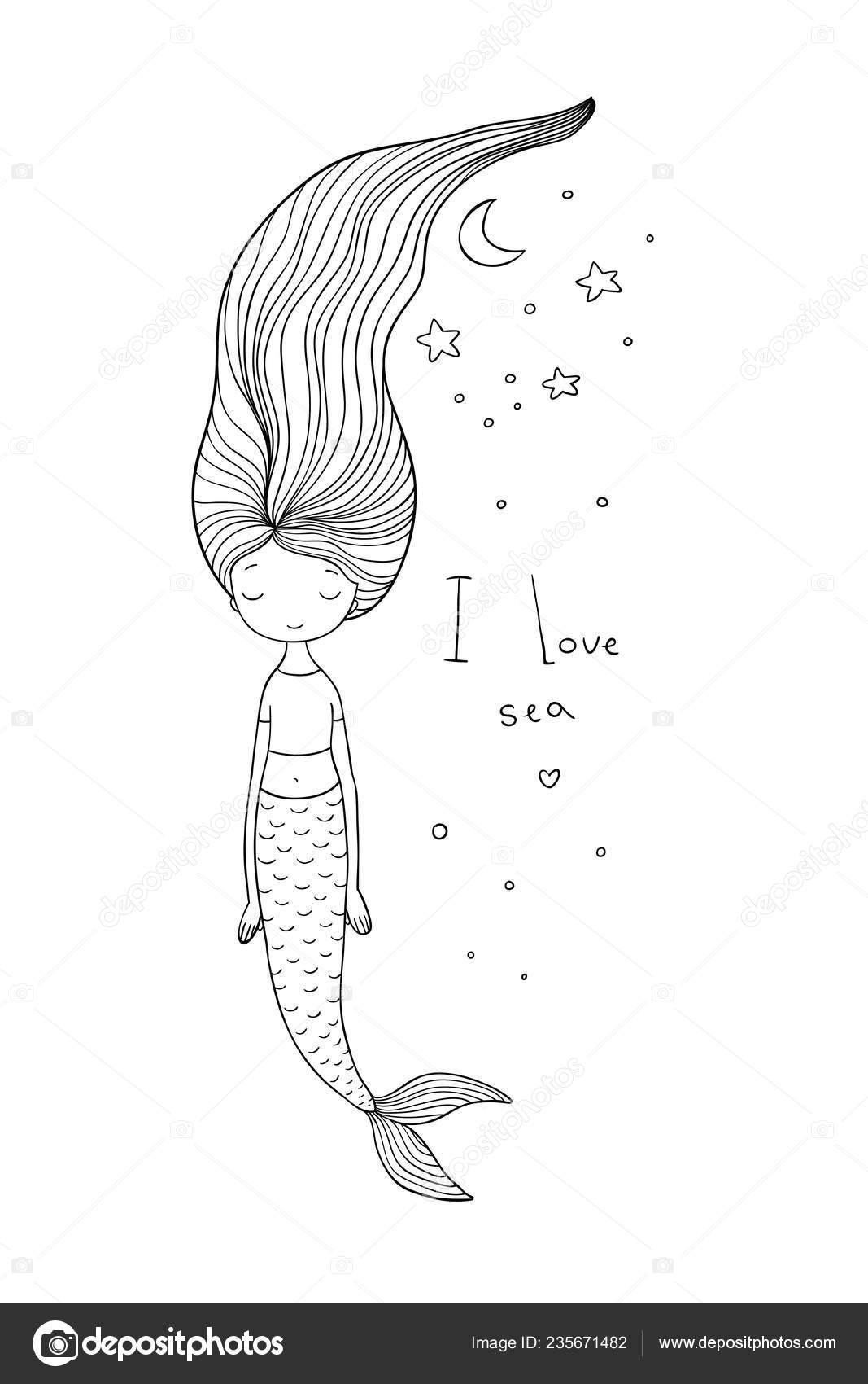 Beautiful Cute Cartoon Mermaid With Long Hair Siren Sea Theme Stock Vector C Natasha Chetkova 235671482