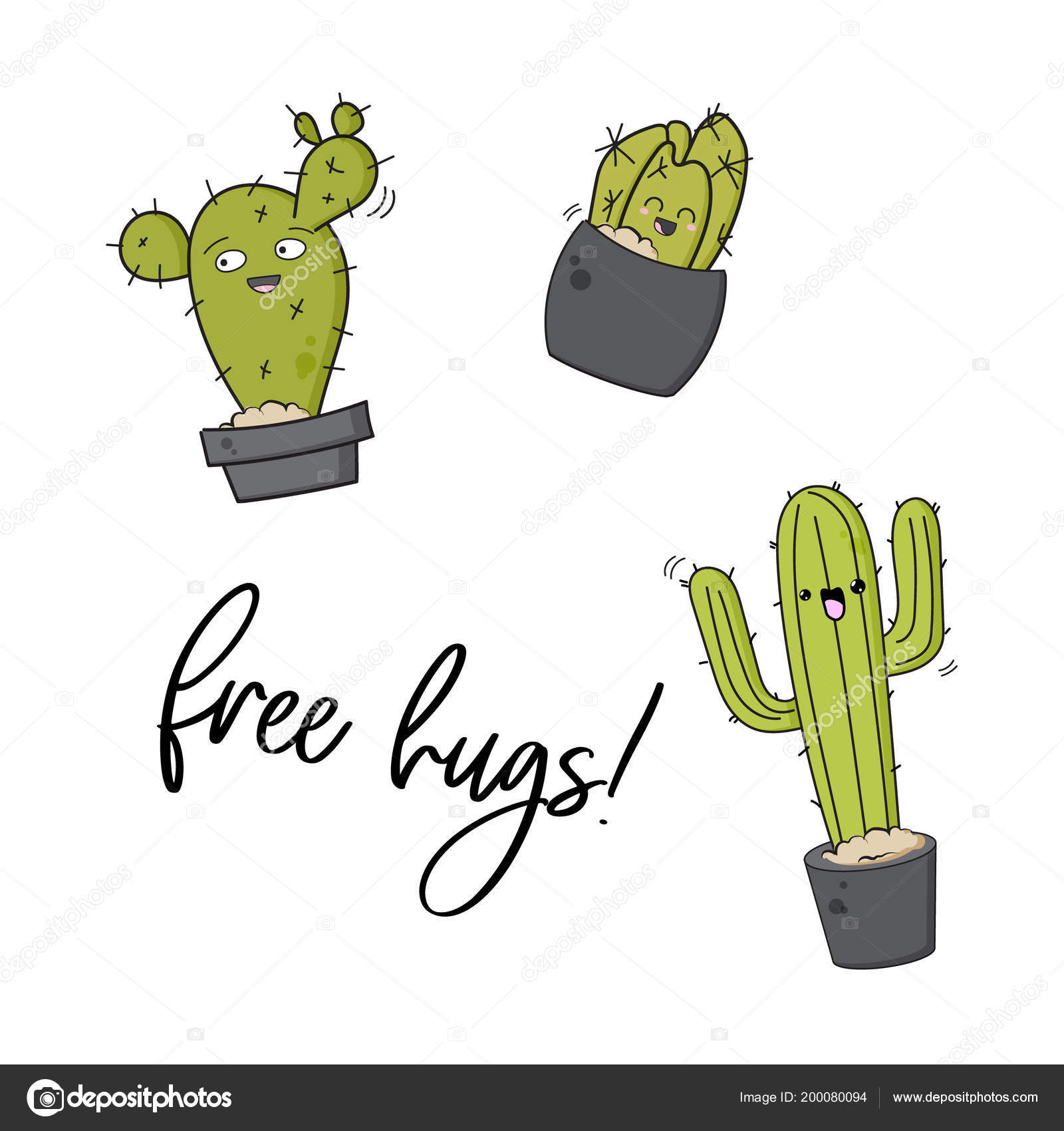 Vektor Glücklich Kaktus Print Coole Kids Design Mit Sukkulenten