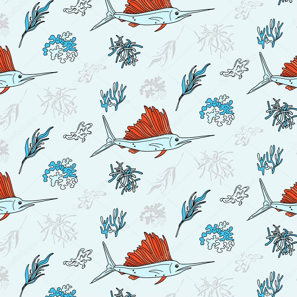 Swordfish and seaweed contrast textile print. Vector underwater life pattern. Oceam plants and fish elements. Deep water animals cover. Summer graphic design for restaurants.