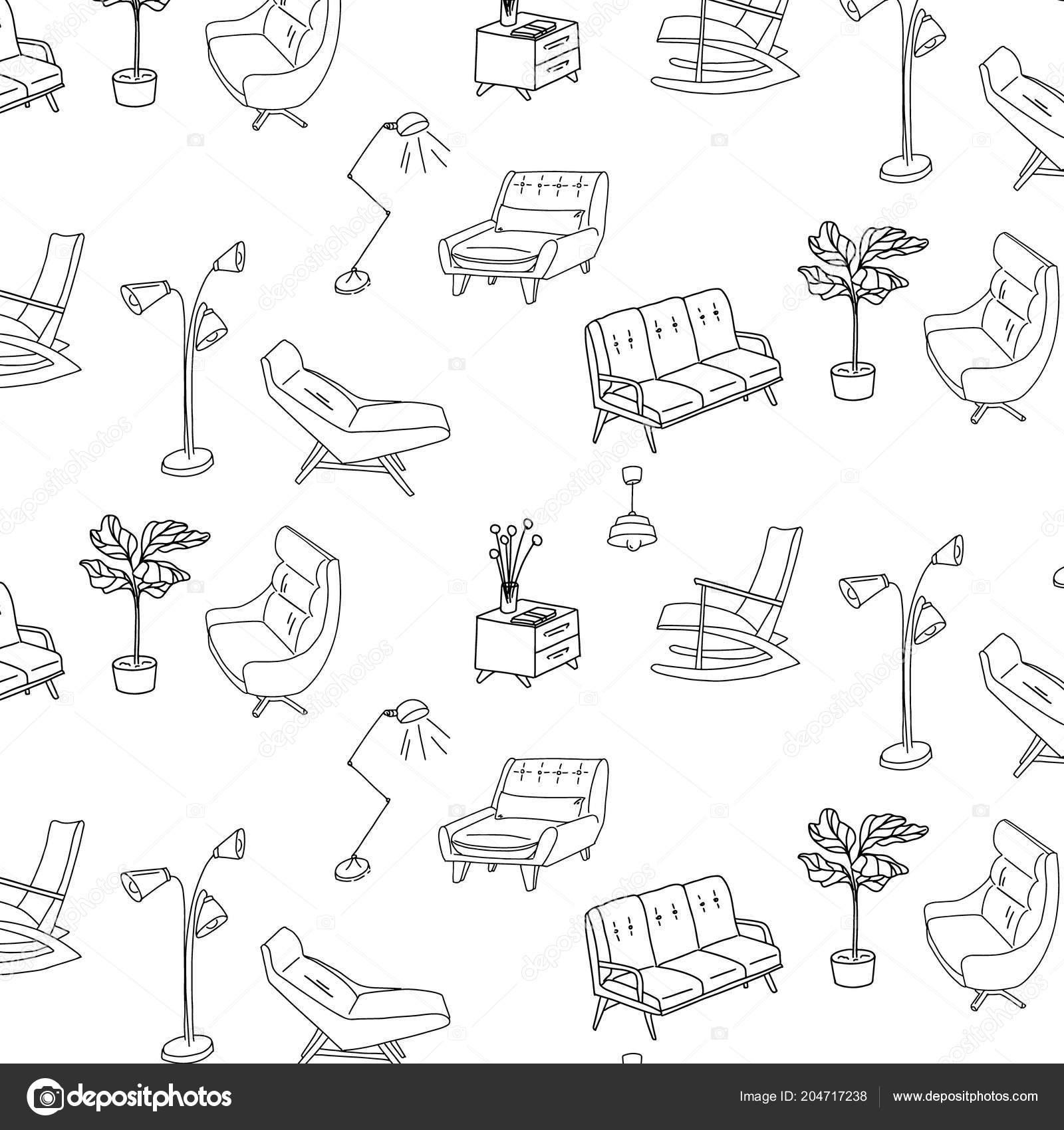 jaren 60 stijl meubelen interieur schets patroon leuke decoratie oppervlakte vector retro sofa lamp leunstoel en nachtkastje decoratie