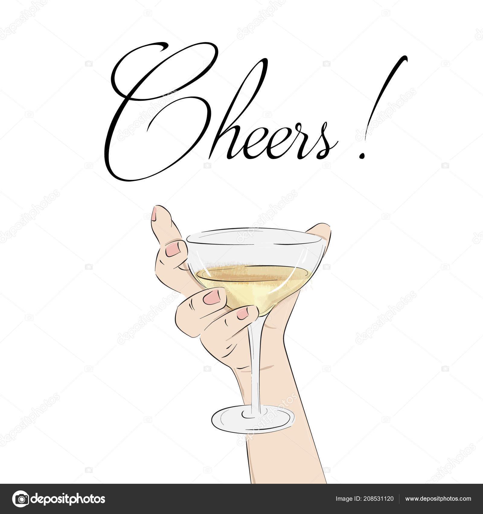 Cheers Cocktail In Der Hand Frau Halten Glas Mit Alkohol Hochzeit