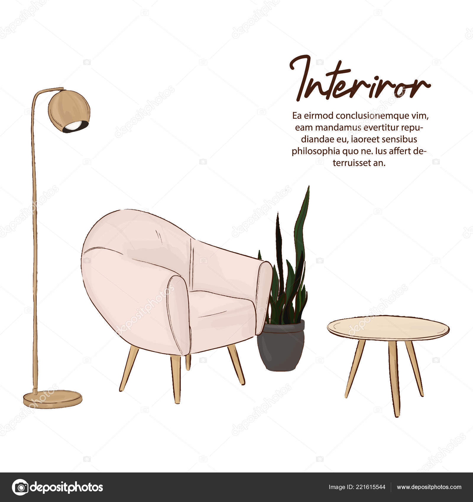 Minimalistisches Design Skizze Skandinavischen Stil Bequem