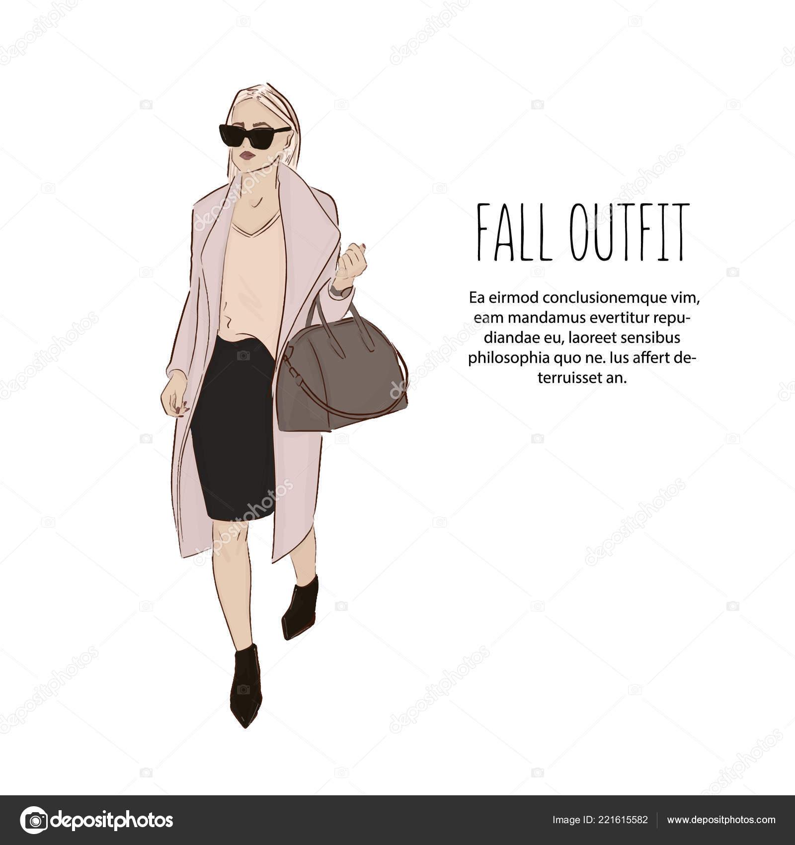 6ef601996f Mulher no croqui de roupas de grife. Roupa de moda. Garota de modelo  vestindo blusa, casaco, saia e hight ilustração bonita de saltos.