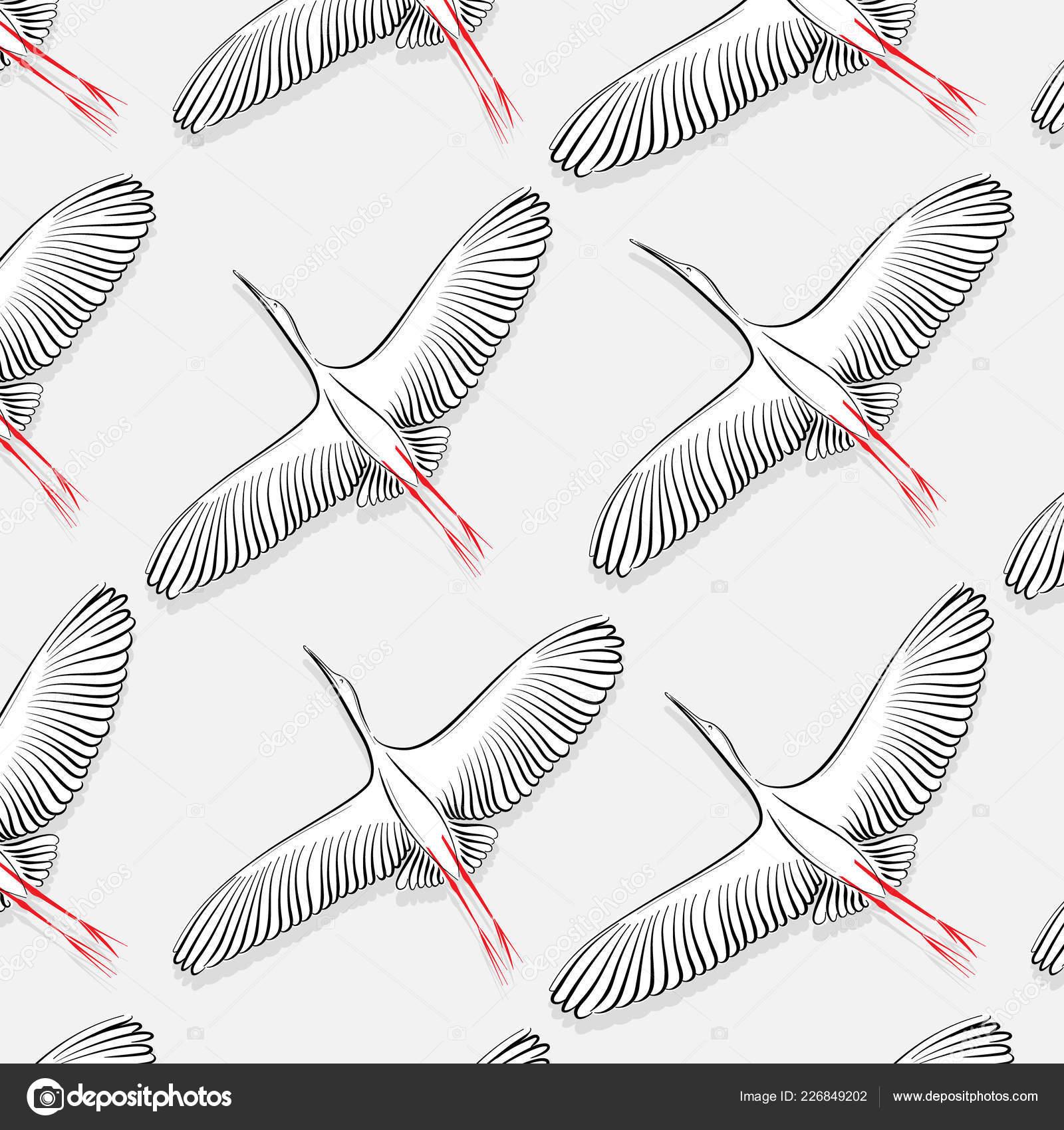 White Stork Pattern Vector Big Flying Bird Texture Modern Cloth