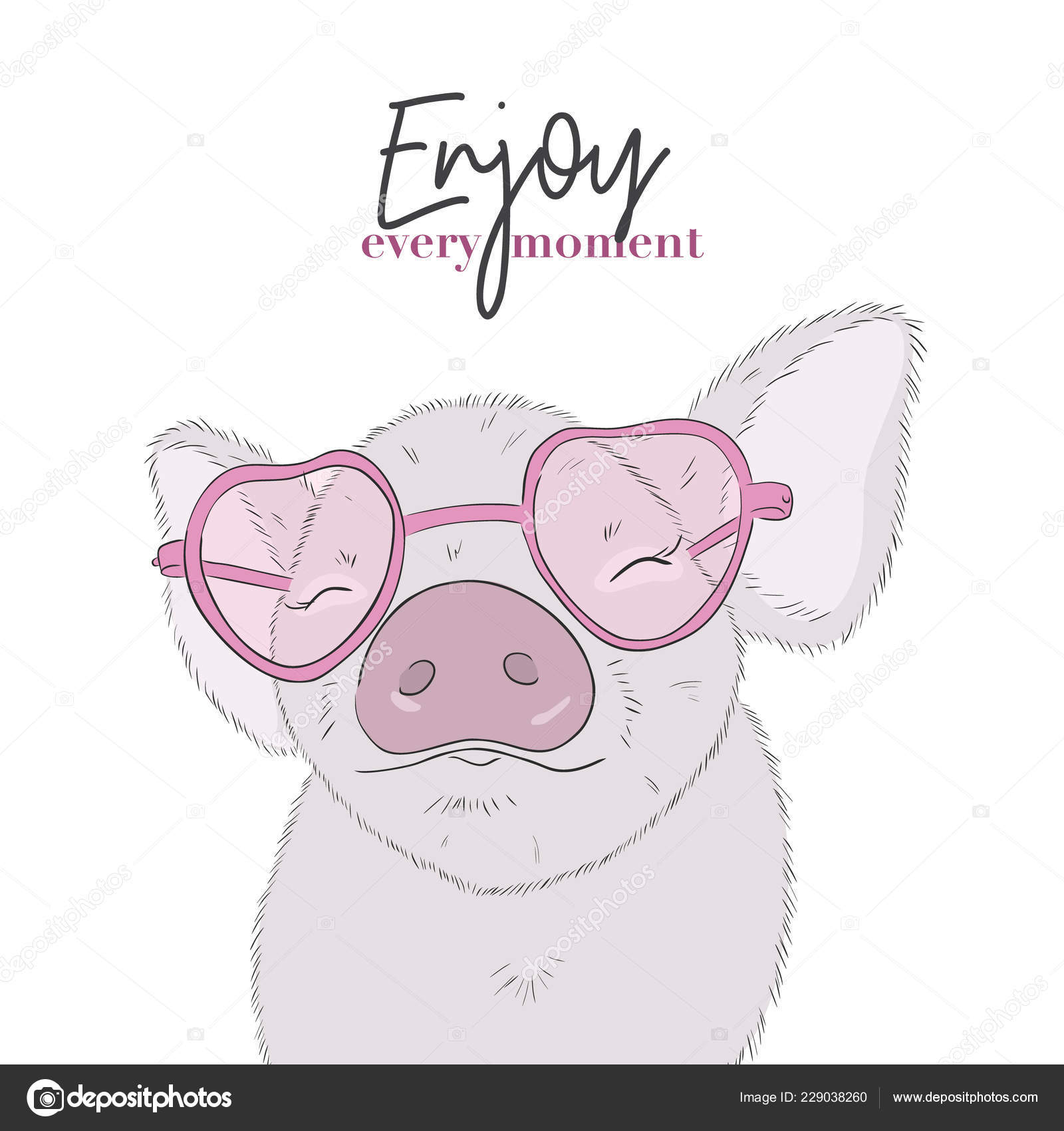 Cute Pig Enjoy Every Moment Quote Happy Life Funny Piglet