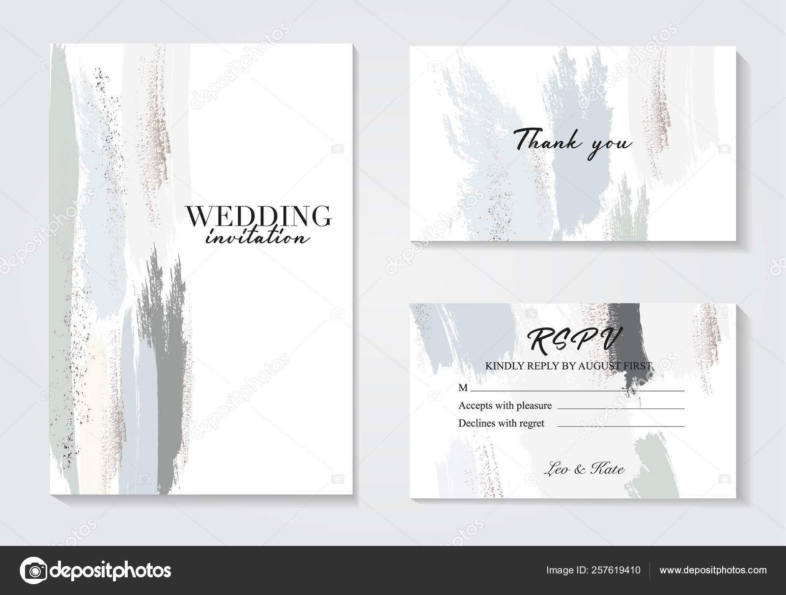 Corporate Identity Template In Blue Grey Colors With Glitter