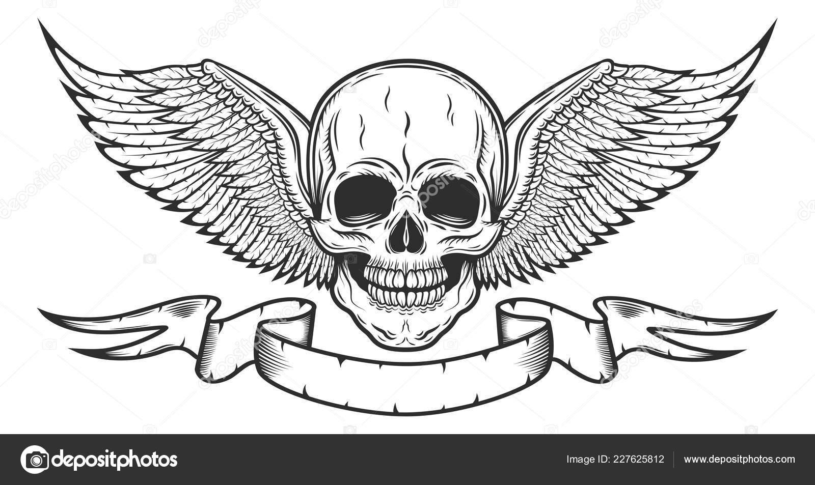 Vintage Monochrome Logo Vorlage Mit Totenkopf Und Adler
