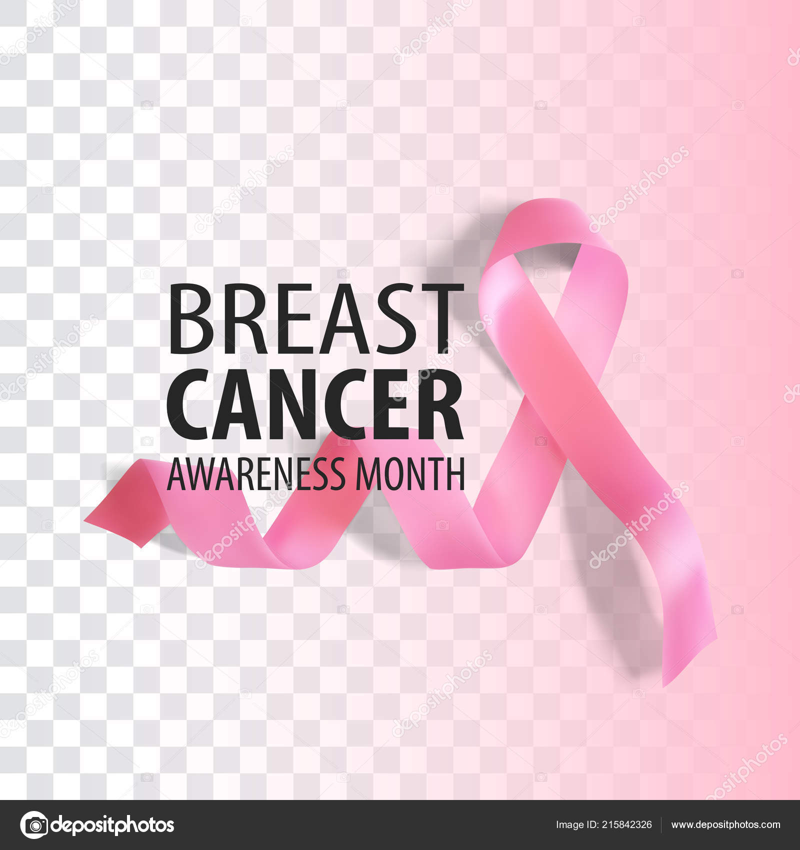 Realistic Pink Ribbon Breast Cancer Awareness Symbol On