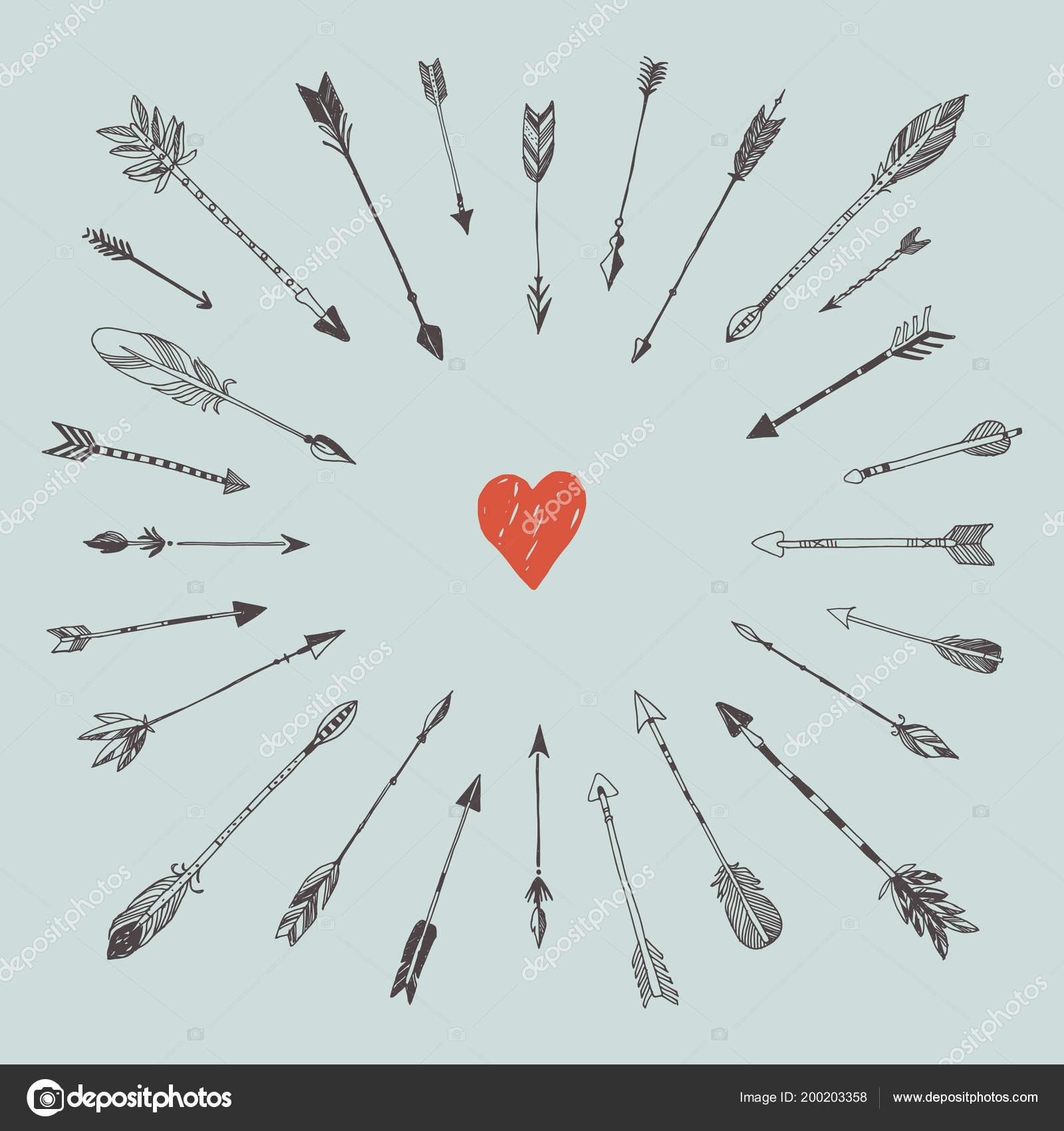 7b6c9fd95002e8 Coração e flechas decorativas — Vetores de Stock © ddok #200203358