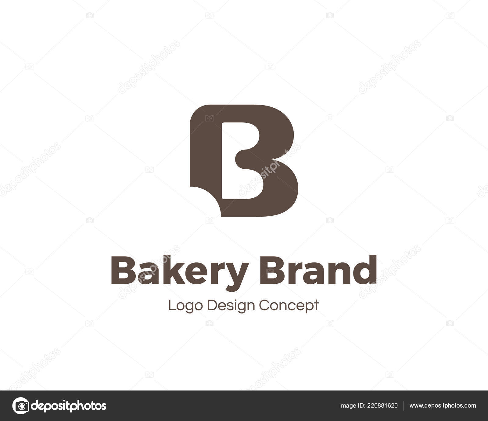 bakery logo template letter b bite mark universal icon bakery shop sign design template for labels badges banners posters menu identity and
