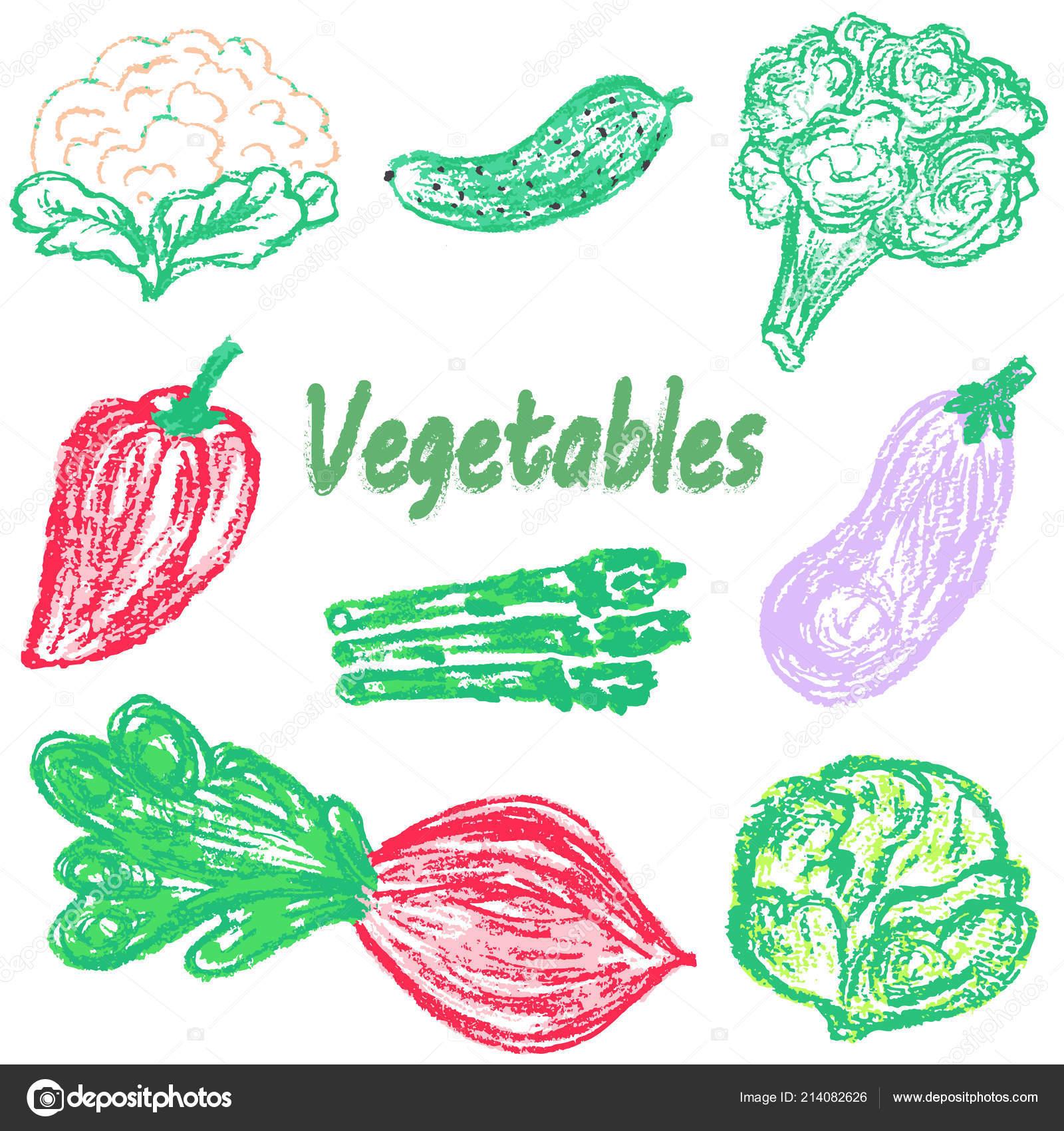 çocuk çizim Renkli Mum Boya Kalemi Ile Lezzetli Sebze Yararlı Stok