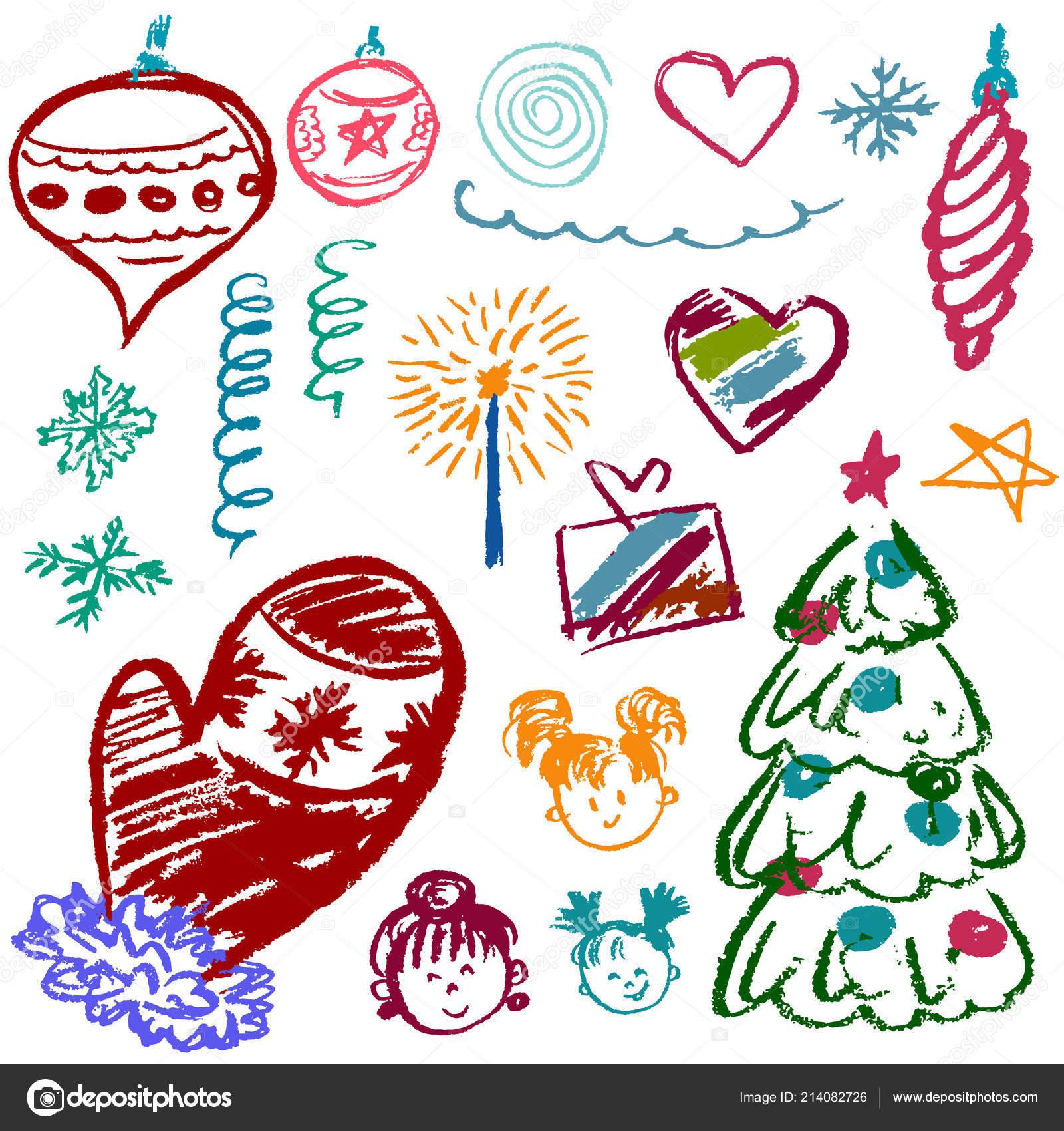 Dibujos De Navidad Creativos.Ano 2019 Conjunto Elementos Para Creatividad Ano Nuevo
