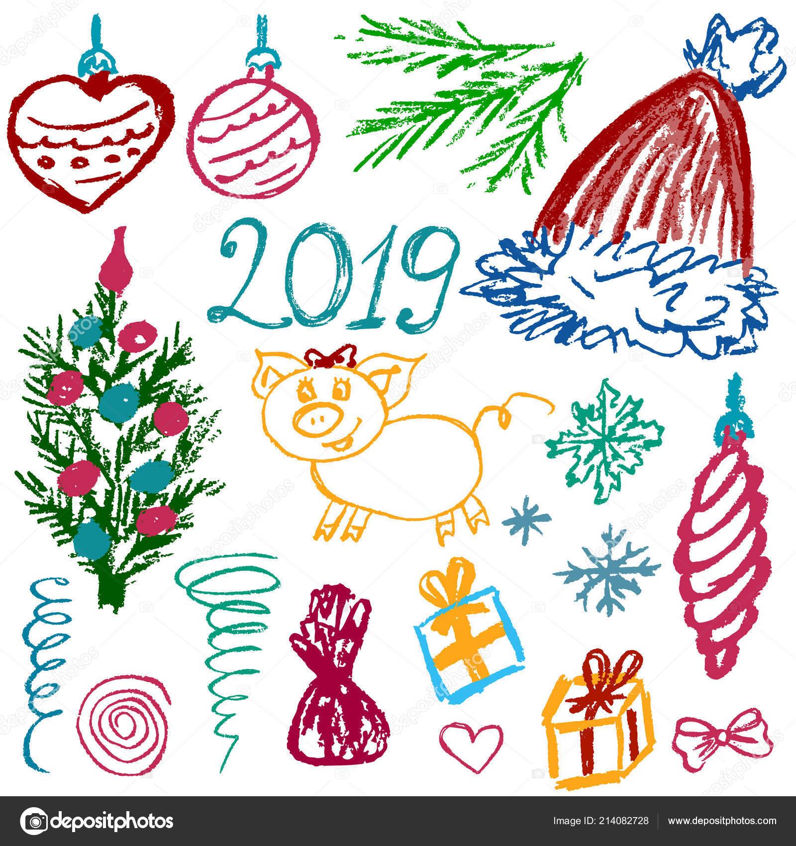 Kinder Geschenke Weihnachten 2019.Neue Jahr 2019 Silvester Satz Von Elementen Für Ihre Kreativität