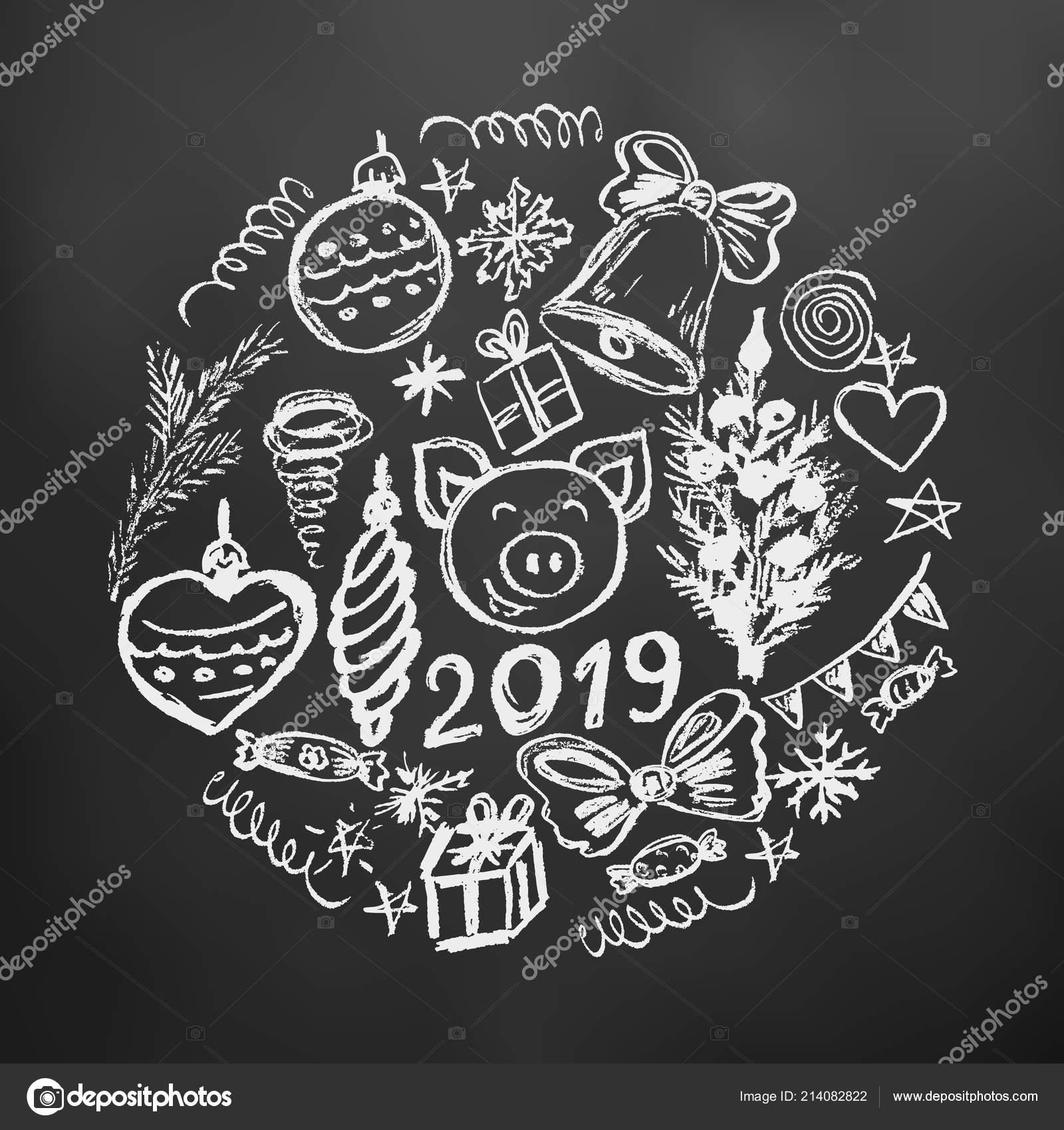 Disegni Di Capodanno 2019 Nuovo Anno 2019 Illustrazione Capodanno