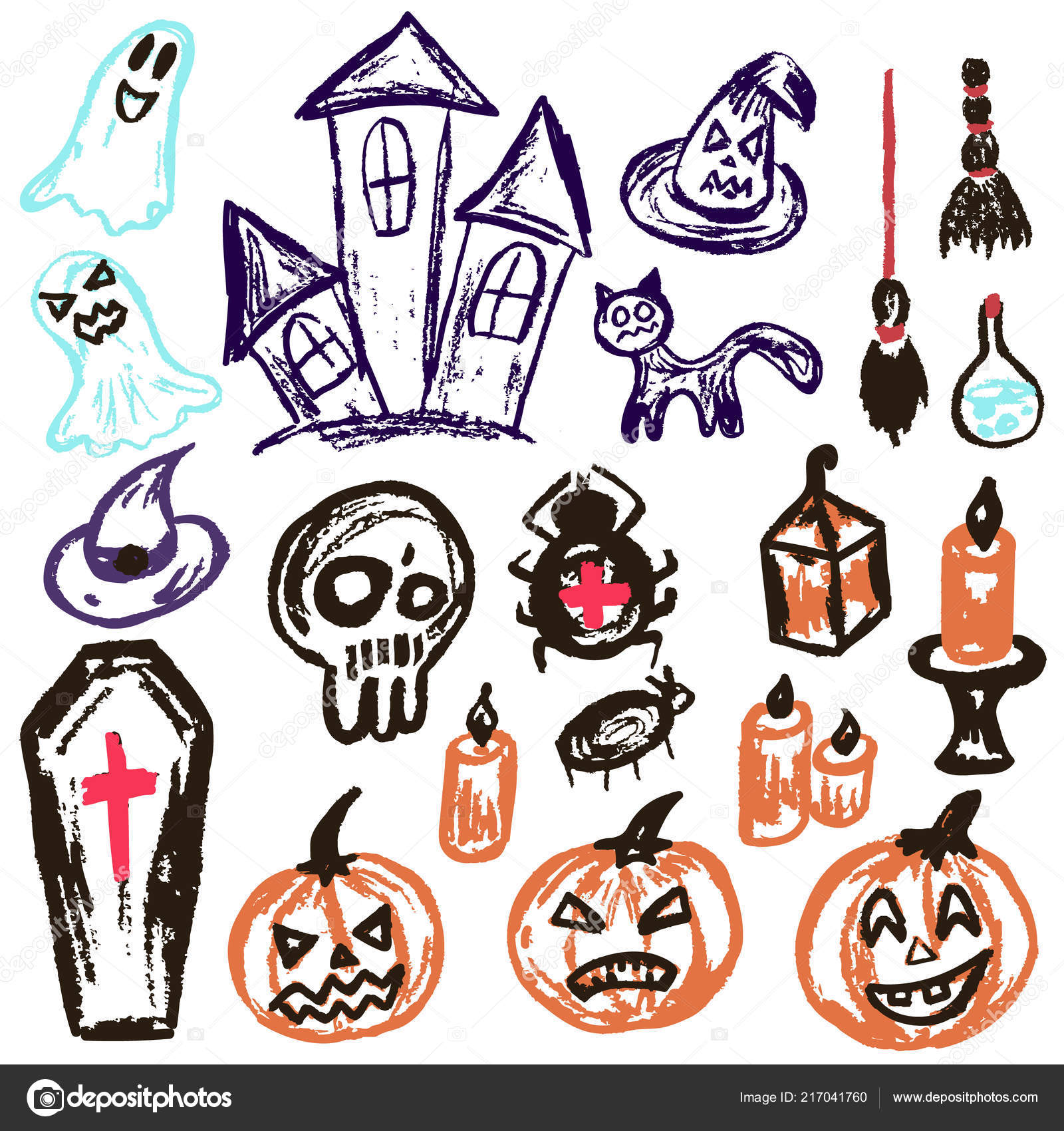Halloween A Set Of Funny Objects Vector Illustration Collection Of