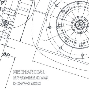 Blueprint. Vector engineering illustration. Cover, flyer, banner, background. Instrument-making drawings. Mechanical. Corporate Identity