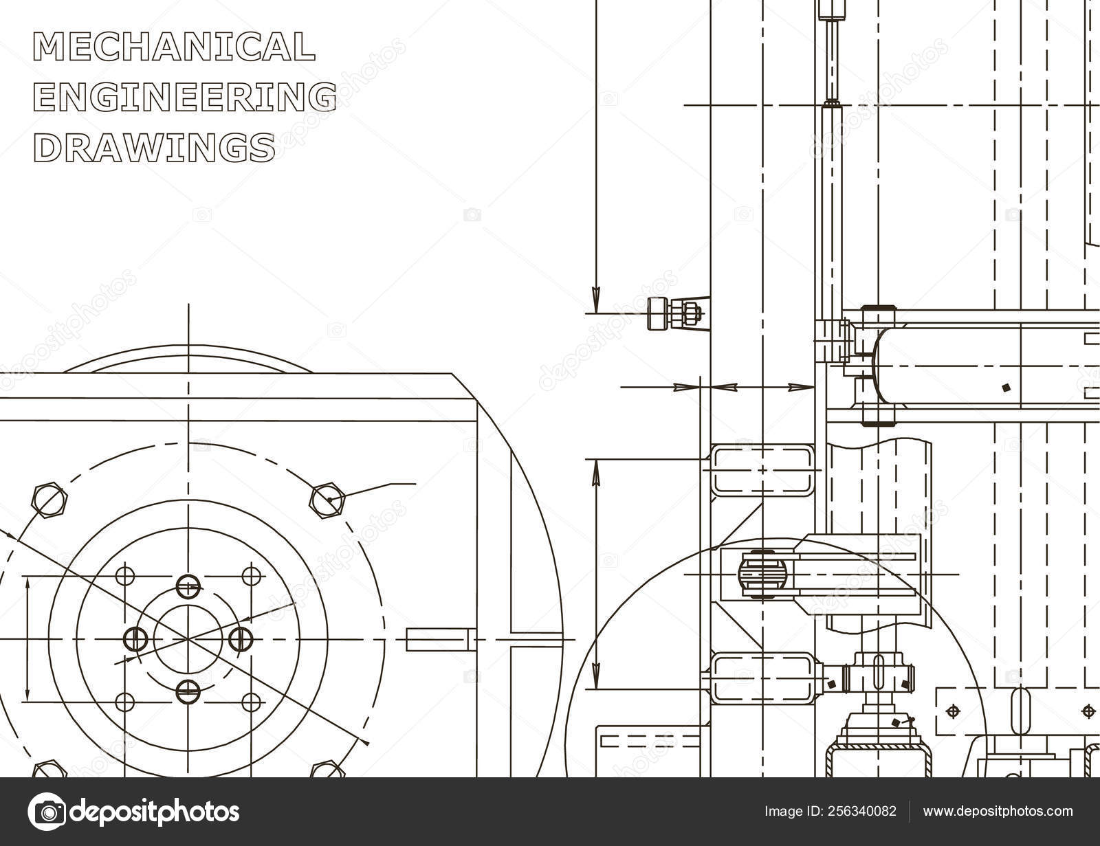 vector engineering illustration instrument making drawings mechanical  engineering drawing computer — stock vector
