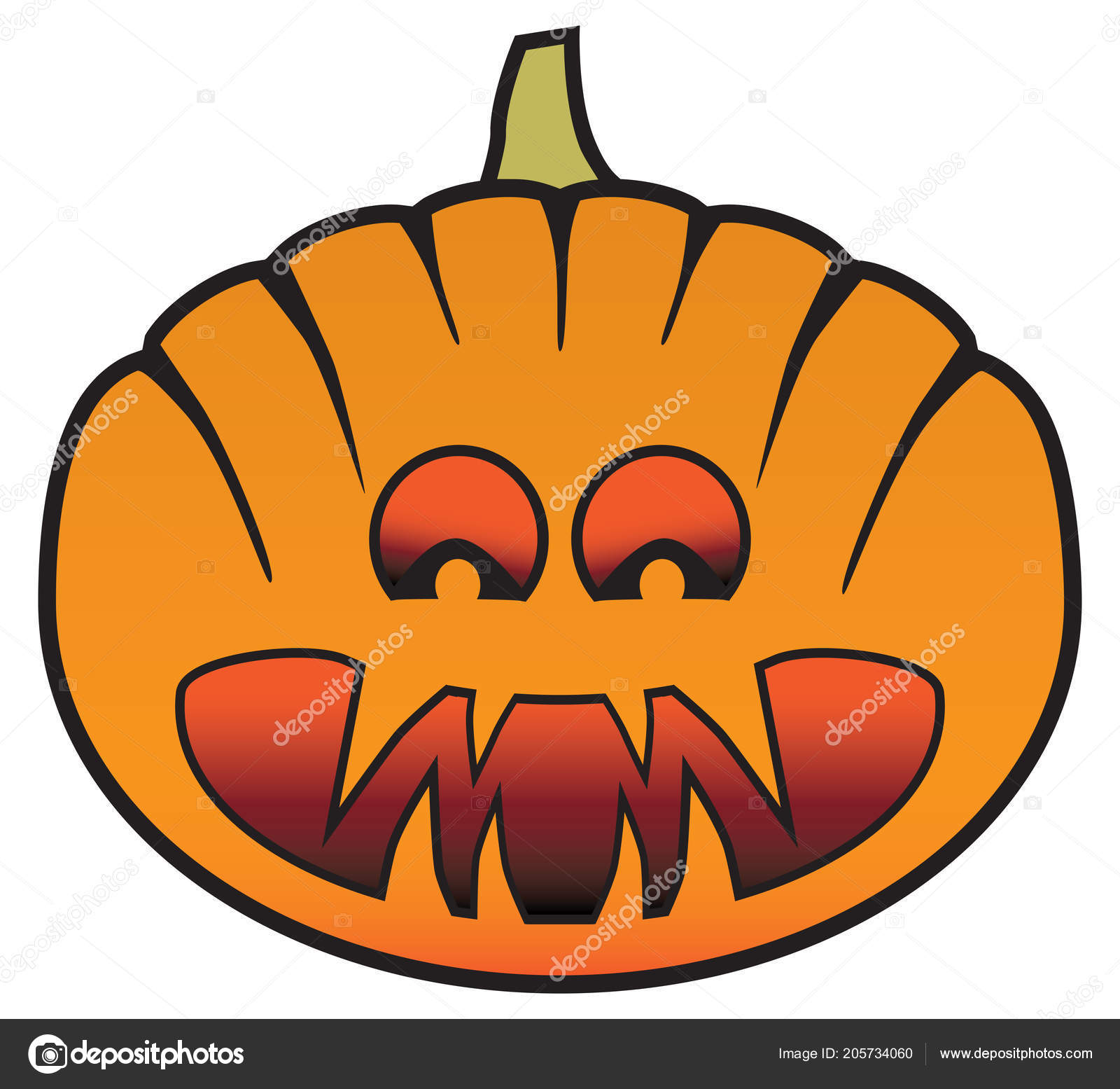 A Sinister Halloween Carved Pumpkin With Glowing Eyes And Scary