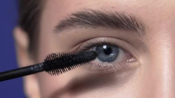 Zblízka na oční řasy make-upu, Žena s večerní make-up barvy řasy, oční make-up, make-up artist, krásné Zenske oči