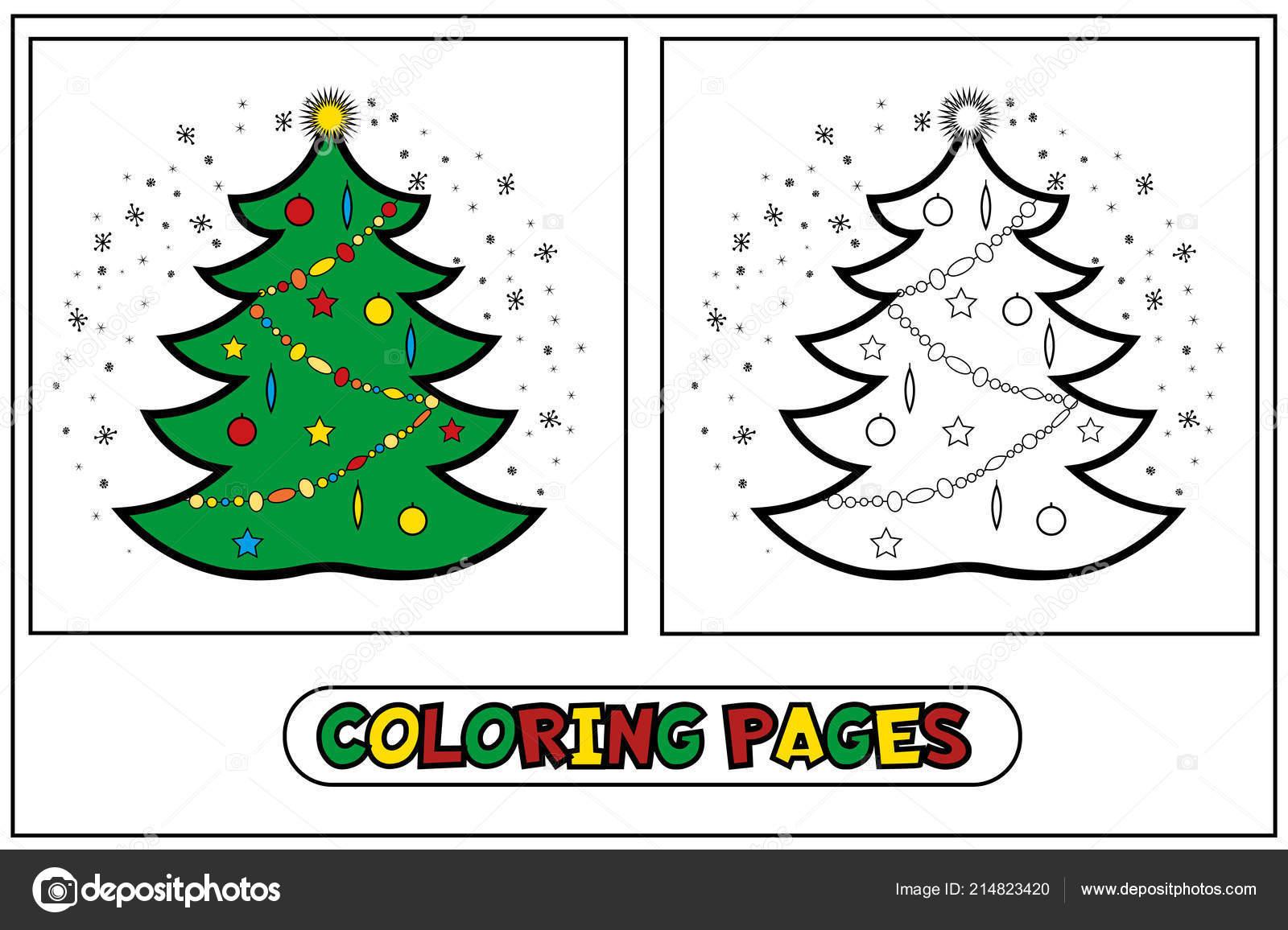árbol De Navidad Para Colorear Archivo Imágenes Vectoriales