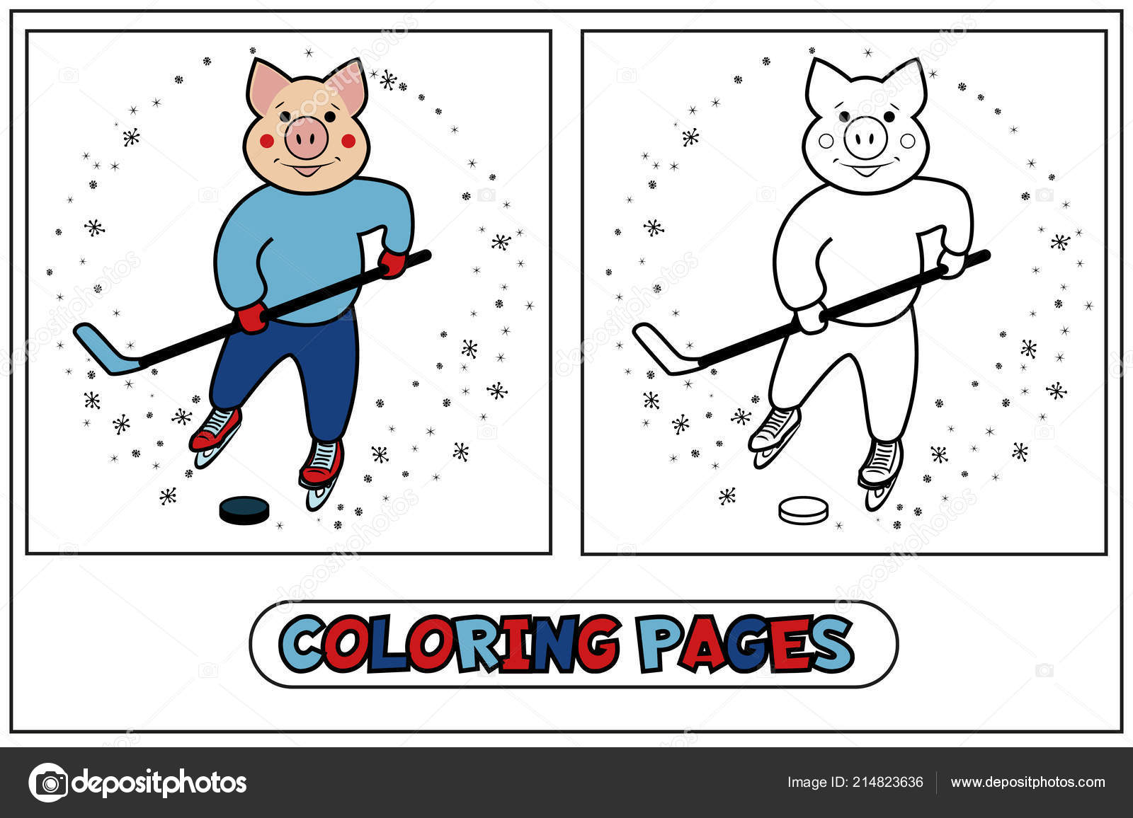 depositphotos stock illustration coloring piggy hockey player