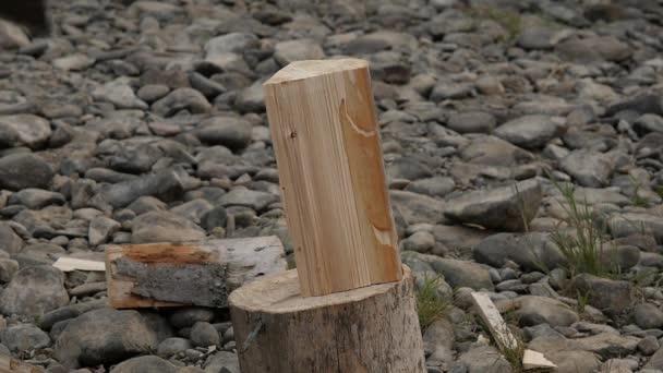 woodsheds a sekání dříví, dřevorubec štípání dřeva se starou sekerou. Zpomalený pohyb
