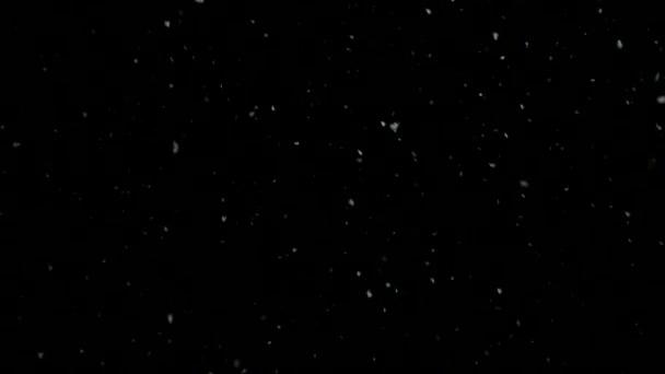 snow falls slowly in night winter. slow motion