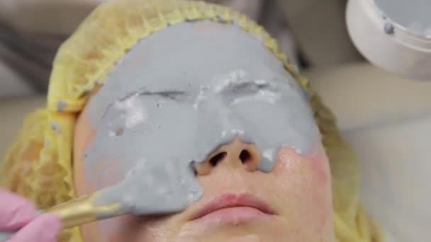 kozmetikus alkalmazott sár maszk a nő arca a gyógyfürdő szalon. arcfiatalító eljárás, Spa kezelések