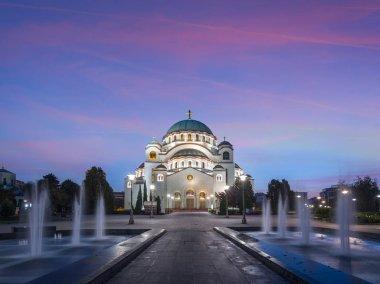 Belgrade architecture in evening Serbia
