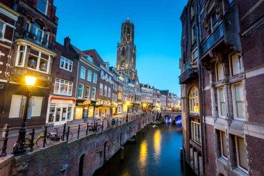 historic center of Utrecht in the evening, Netherlands