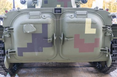 Armored personnel carrier, rear view.