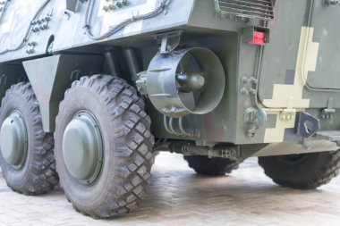 Armored personnel carrier, rear view. Military car amphibian