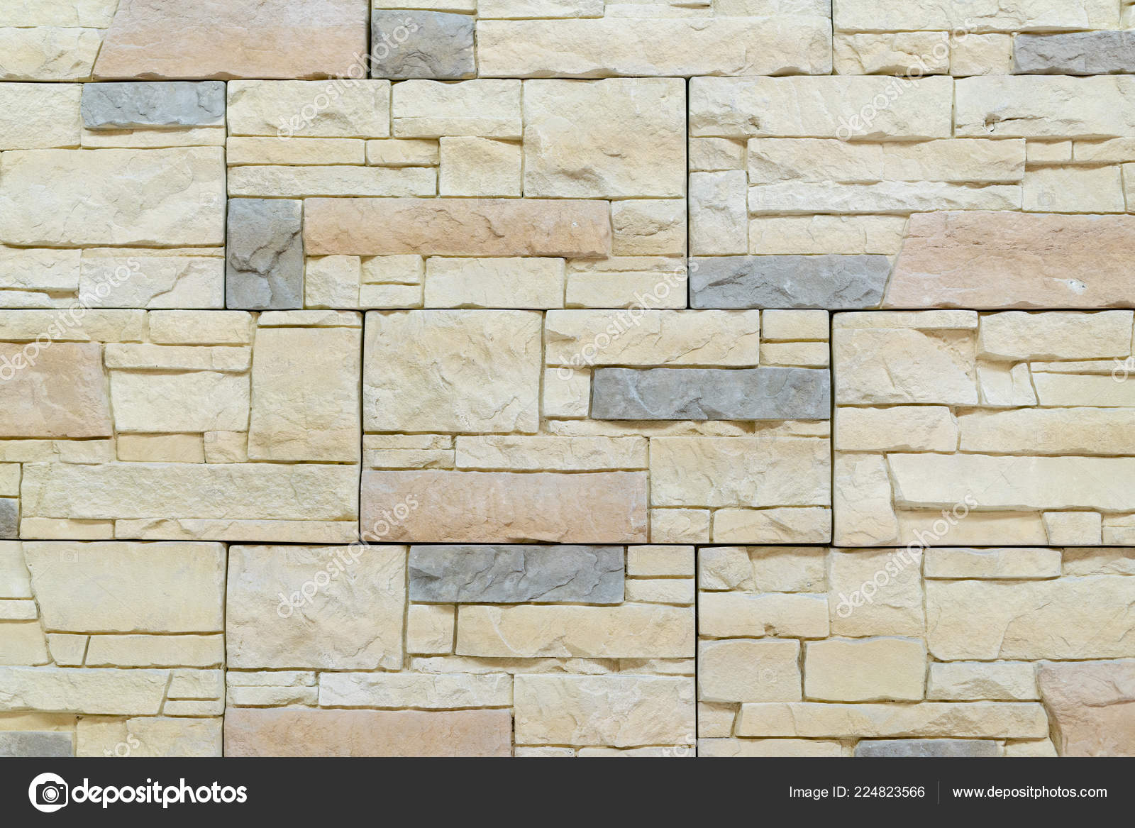 Beige Decorative Stone Wall Decoration Background Stock