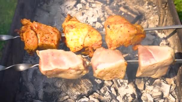 Zavřít pohled na grilování shashlik venku